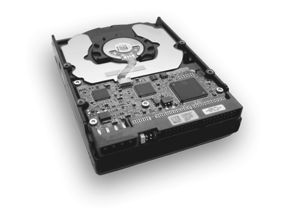 broken hard drive with lost data in black and white